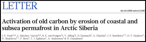 Paper - Activation of old carbon by erosion of coastal and subsea permafrost in Arctic Siberia